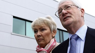 Christopher Tappin, with his wife Elaine at Heathrow police station, where he was handed over to US marshals in February