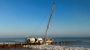 The yacht ran aground close to Cart Gap.