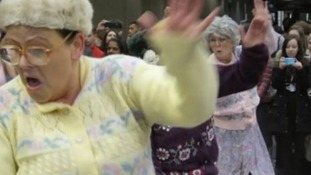 Dancing grannies take over train station for Diwali celebrations