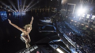 Briton crowned cliff diving world champion after night flight in Dubai