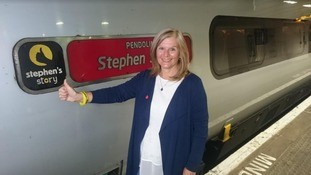 Jane Sutton travels to POB on train named after late son