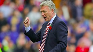Sunderland manager David Moyes reacts on the touchline during the Premier League match at the Stadium of Light, Sunderland.