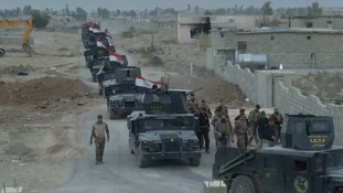 Iraqi troops on the outskirts of Mosul
