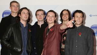 Rupert Jarvis, Felix White, Sam Doyle, Hugo White, Will White and Orlando Weeks of The Maccabees (from left to right).