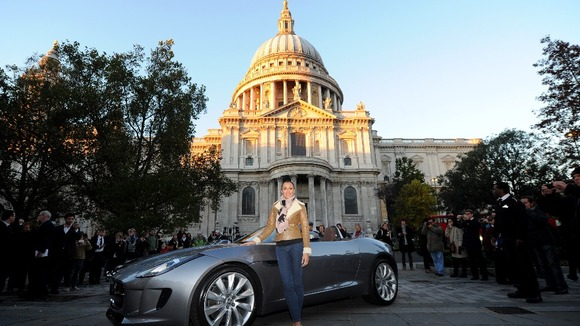 Olympic gold medallist Jessica Ennis outside St Paul's Cathedral.