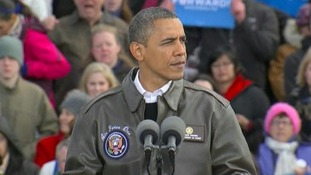 President Obama speaks during a campaign rally in Wisconsin on Thursday.