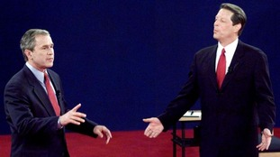 Then presidential candidates George W Bush and Al Gore in 2000.