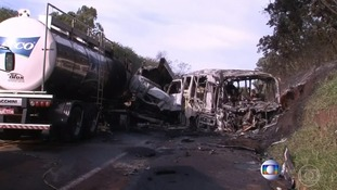 Wreckage at scene of crash after fire