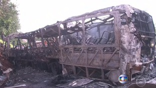 The bus was left completely burnt out