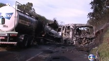 The bus was left completely burnt out after the collision