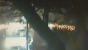 Teenager arrested after police van firework attack