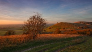 Halloween sunset at Ivinghoe Beacon in the Chilterns close to the Herts-Beds-Bucks border.