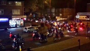 Police attacked by masked riders during 'Halloween Ride Out'