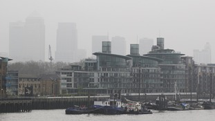 A view of Canary's Wharf buildings following a smog alert warning in 2014.