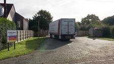 The lorry where fifteen people were found hidden inside in Norfolk
