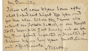 Nelson's letter will be auctioned by Bonham's