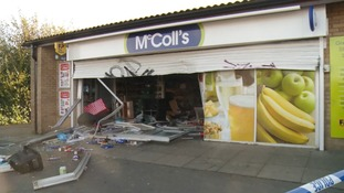 The shop targeted by ram raiders in Peterborough