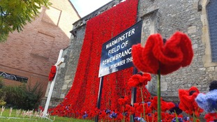 Warminster remembers the fallen with a waterfall of knitted poppies