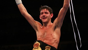 Jamie McDonnell celebrates beating Fernando Vargas in the WBA Bantamweight World Championship bout at the 02 Arena, London