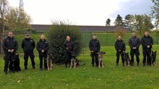 Northumbria's six new dogs with their handlers at HQ in Ponteland