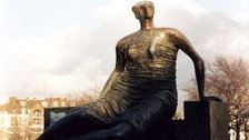 Henry Moore&#x27;s sculpture Draped Seated Woman.