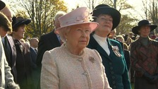 The Queen arriving in Newmarket in Suffolk to open a horse racing heritage centre.