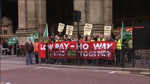 The rail route cleaners have been striking down at Newcastle Central Station