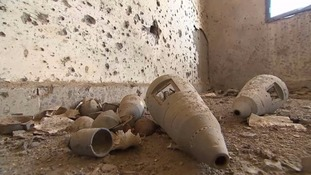 Remains of a cluster bomb that claimed the lives of three members of a mine clearance team.