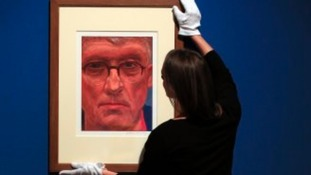 Hockney's iPad 'selfie' goes up at Buckingham Palace