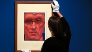 Hockney's self-portrait goes up at the palace gallery