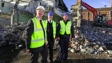 Council Leader, Councillor Mark Robson, District Councillor Peter  Wilkinson; and Mark Love, MD of Buckler Demolition