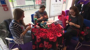 Knitted poppy making in Plymouth