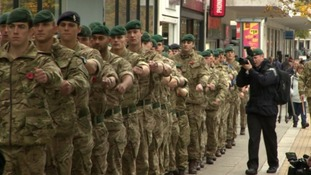 Poppy parade as soldiers take part in Plymouth commemorations