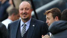 Rafa Benitez in the dug out at St James' Park
