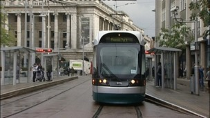 One of Nottingham's trams in the Old Market Square