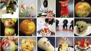 Characters made from fruit and vegetables.