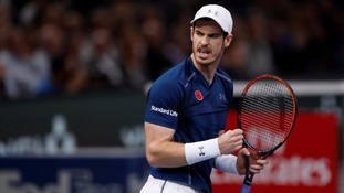 Andy Murray plays during the Paris Masters final.