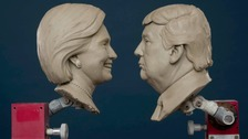 Hillary Clinton and Donald Trump are facing off in wax