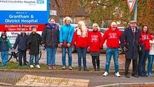 Campaigners outside Grantham A&E