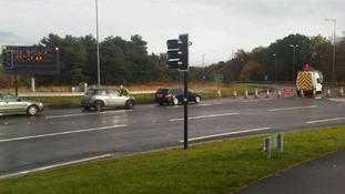 The road is shut between Kemplay Bank roundabout in Penrith and Appleby.