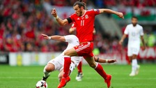 Gareth Bale playing for Wales against Georgia at Cardiff City Stadium
