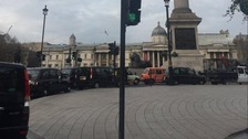 The black cabs caused gridlock around Whitehall