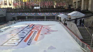 An ice rink dubbed Democracy Plaza outside the Rockerfella Center.