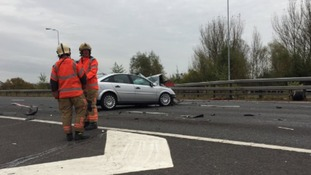 Fire engine involved in M60 crash