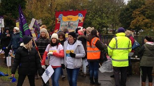 Protestors in Durham on the second day of the teaching assistants'strike