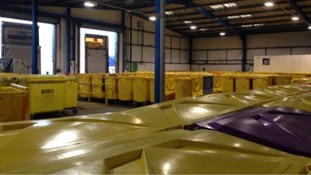 This depot in Avonmouth handles 20 of these bins each day: medicine waste from Bristol, South Glos and North Somerset.