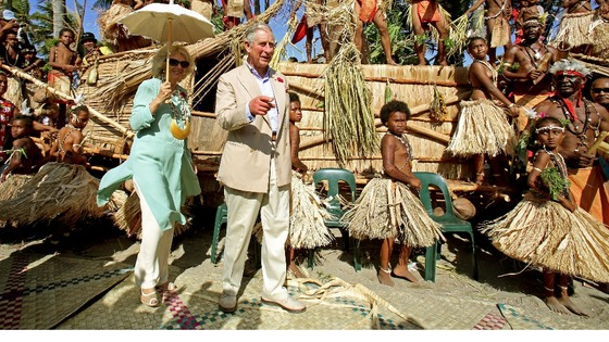 The Prince of Wales and Duchess of Cornwall during a visit to Boera village in Papua New Guinea