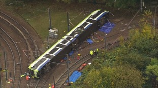 The tram overturned on a corner.