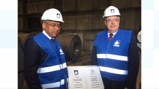 First Minister Carwyn Jones and Liberty House's executive chairman Sanjeev Gupta at today's launch.