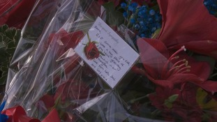 Flowers and tributes for victims of Croydon tram crash.